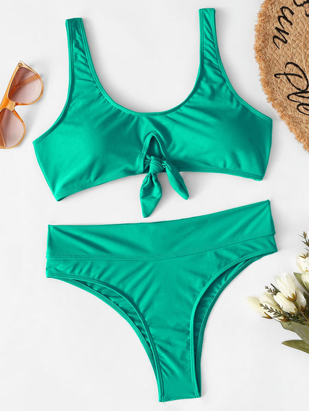 Knot Front Top With High Waist Bikini Set