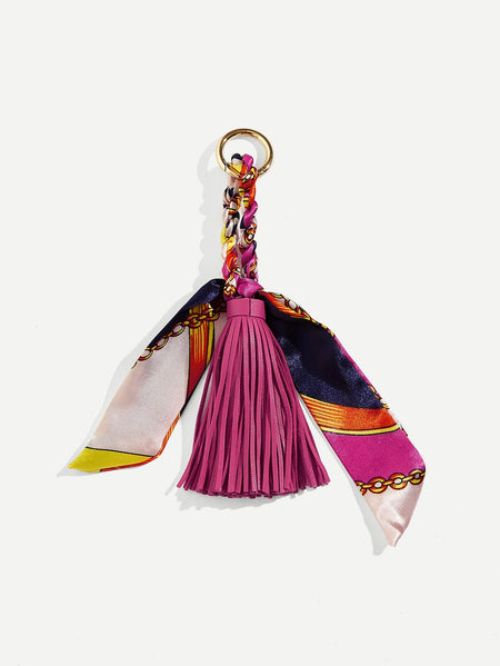Tassel Detail Bag Accessory With Scarf
