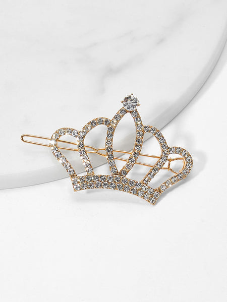 Crown Design Rhinestone Hair Clip