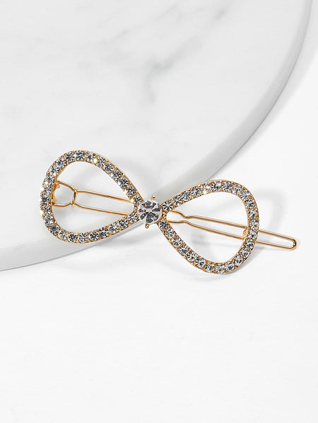 Bow Design Rhinestone Hair Clip