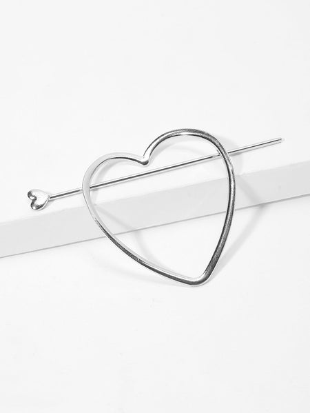 Metal Heart Shaped Ponytail Holder Pin