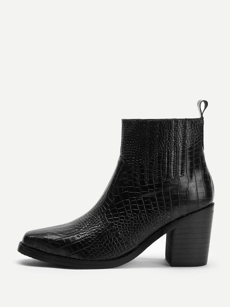 Crocodile Pattern Block Heeled Ankle Boots