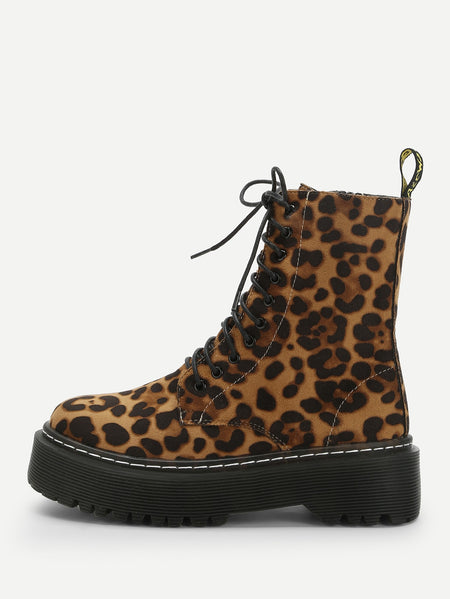 Leopard Print Lace-up Boots