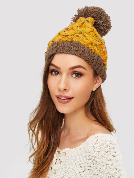 Pom Pom Decorated Beanie