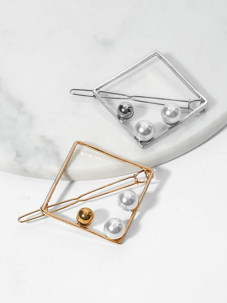 Faux Pearl Detail Square Metal Bobby Pin 2pack