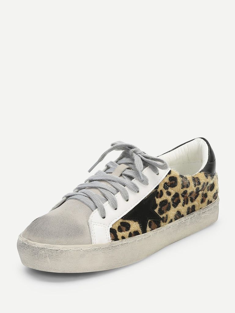 Leopard Print Lace Up Sneakers