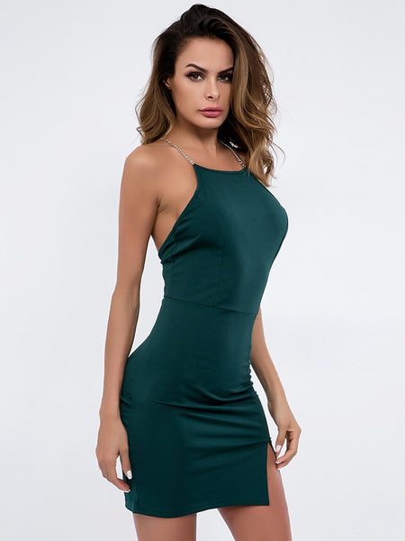 Chain Cross Back Side Slit Cami Dress