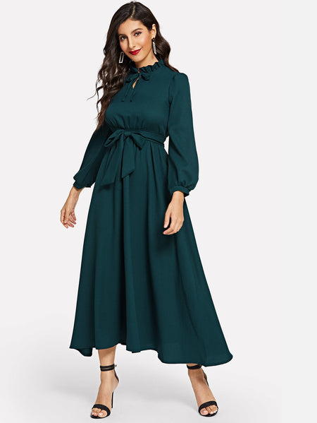 Ruffle Neck Bishop Sleeve Tie Waist Longline Dress
