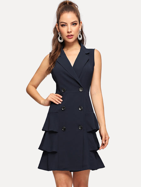 Double-breasted Ruffle Hem Blazer Dress