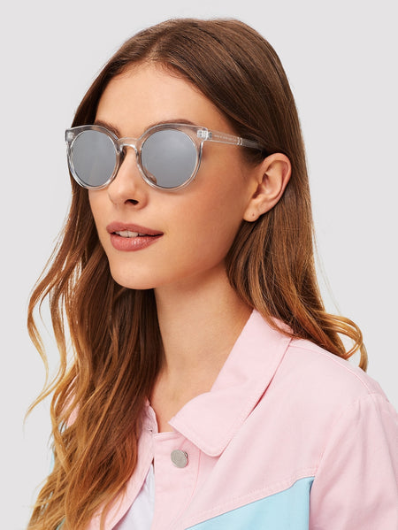 Transparent Frame Mirror Lens Sunglasses