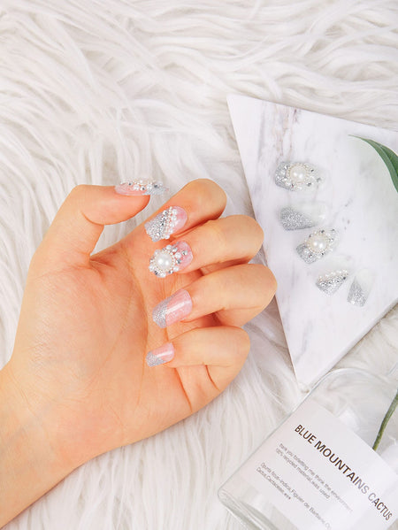 Faux Pearl Decorated Fake Nails 24pcs