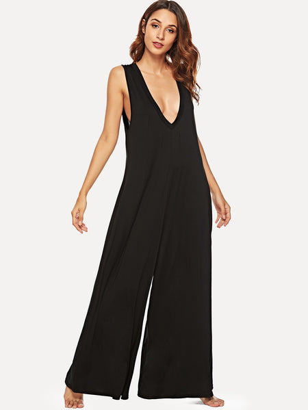 Wide Leg Double V-Neck Jumpsuit