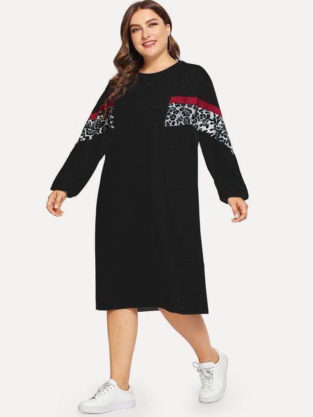 Plus Contrast Leopard Print Sweatshirt Dress