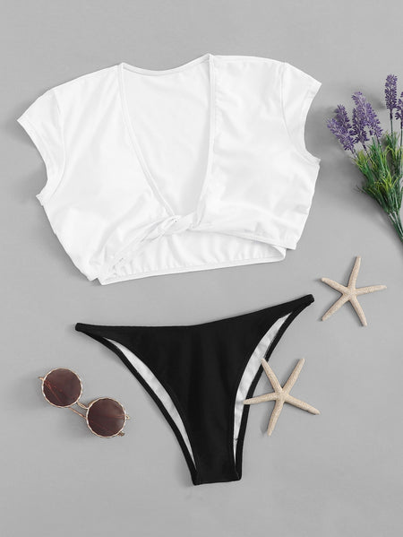 Twist Front V Neck Two Piece Swimwear