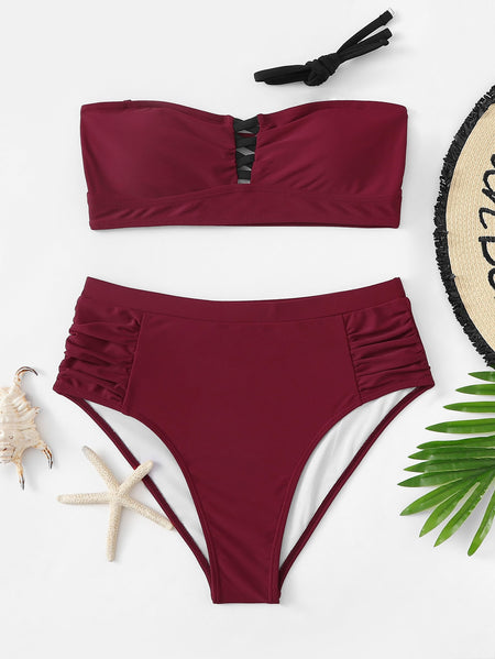 Criss Cross Bandeau With Ruched Bikini Set