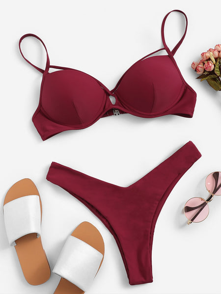 Criss Cross Underwire Top With High Leg Bikini