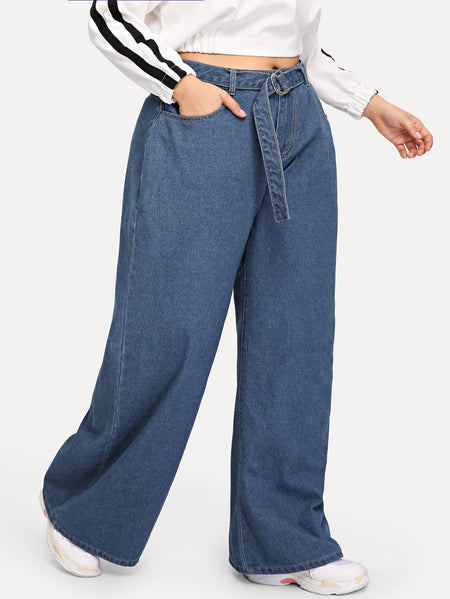 Plus Wide Leg Jeans With Belt