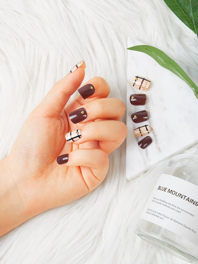 Studded Detail Fake Nail Set 23pack