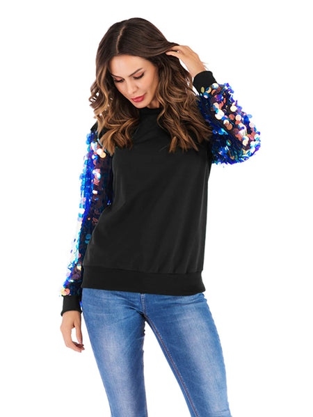 Contrast Sequin Sleeve Sweatshirt