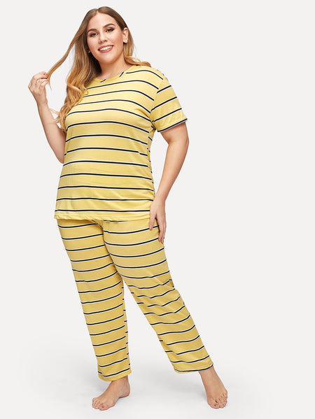 Plus Striped Top & Pants PJ Set