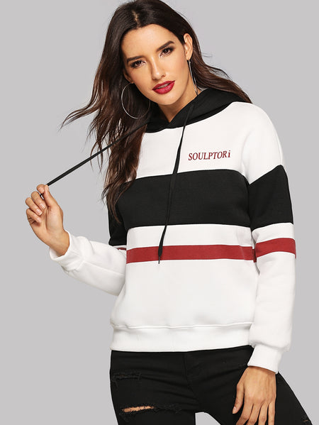 Letter Print Drop Shoulder Drawstring Hoodie