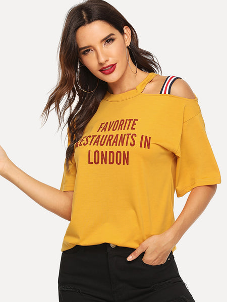 Letter Print Cut-out Tee