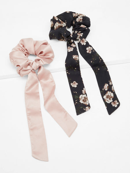 Floral & Plain Hair Tie 2pack