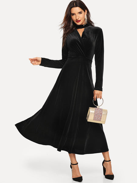 Choker Neck Surplice Velvet Flare Dress