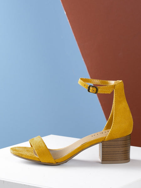 Open Toe Stacked Heel Ankle Strap Sandal