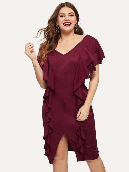 Plus Flounce Trim V-neck Dress