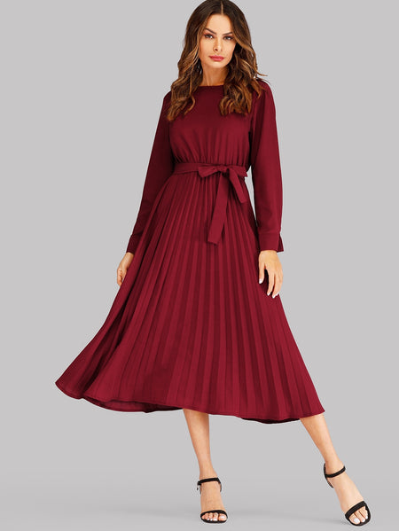 Self Tie Pleated Midi Dress
