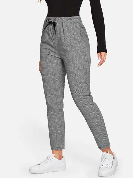 Drawstring Waist Plaid Pants