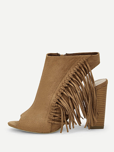 Tassel Detail Cut-out Chunky Heels