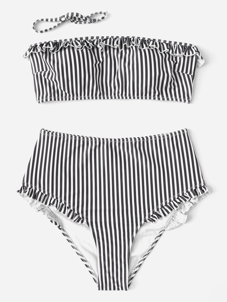 Striped Frill Decorated Bandeau With High Waist Bikini