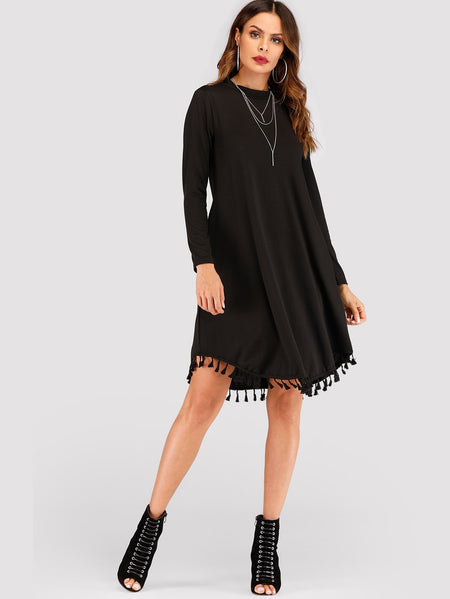 Pocket Side Fringe Hem Dress