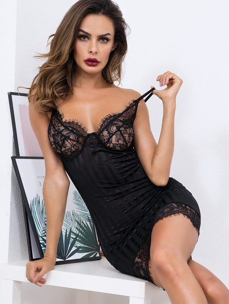 Eyelash Lace Panel Bustier Cami Dress