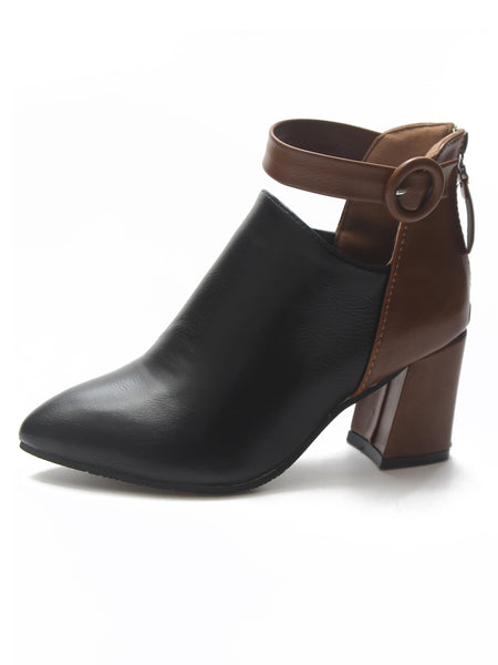 Two Tone Ankle Strap Chunky Boots