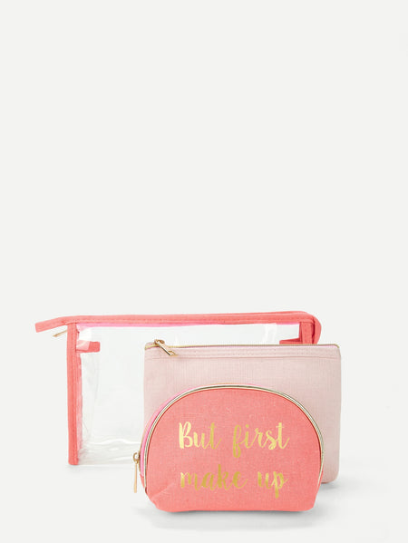 Letter Print Zipper Makeup Bag 3pcs