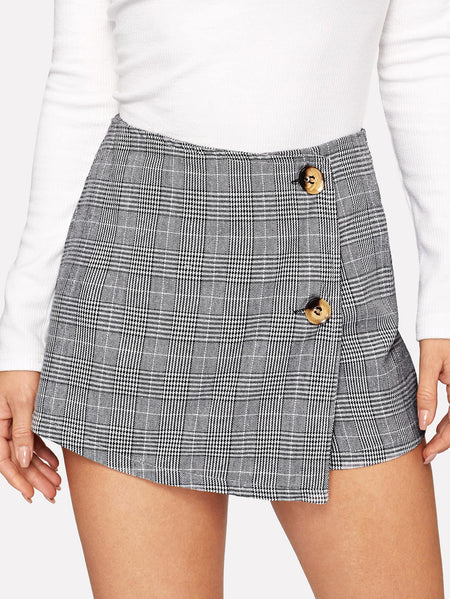 Button Front Plaid Shorts
