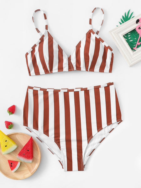 Random Striped Top With High Waist Bikini Set