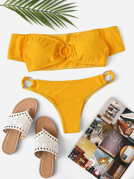 Off the Shoulder Ring Detail Bikini Set