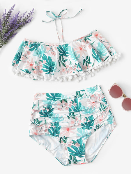Random Tropical Pom-pom Trim Top With Ruched Bikini