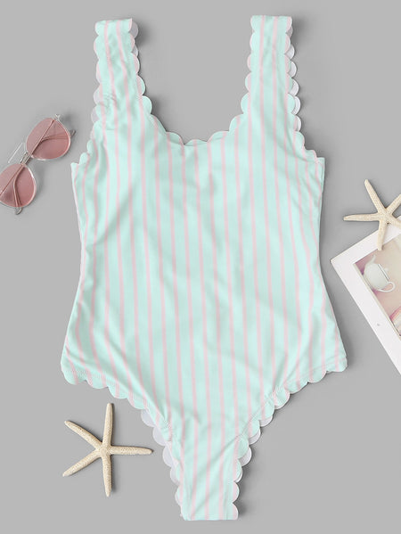Low Back Scalloped Trim Striped One Piece Swimsuit
