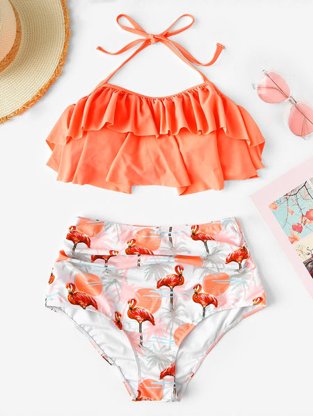 Ruffle Top With Random Tropical Ruched High Waist Bikini