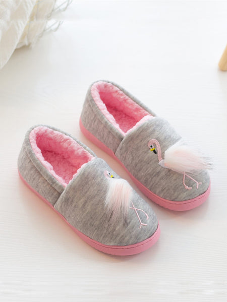 Flamingo Embroidered Slippers