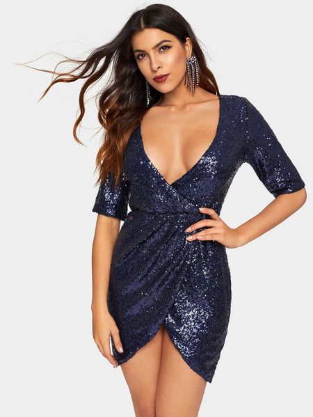 Wrap Front V-neck Sequin Dress