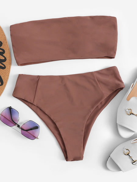 Bandeau With High Cut Bikini Set