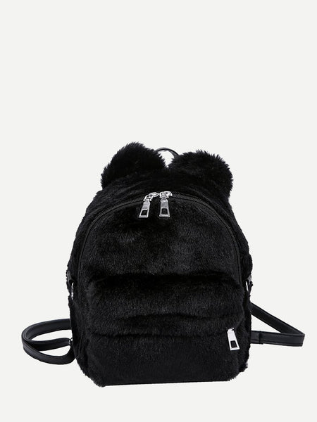 Faux Fur Fluffy Backpack
