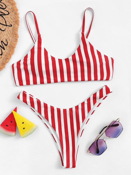 Plus Lace-up Top With Criss Cross Bikini