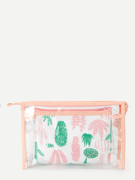 Plant Pattern Makeup Bag Set 2pack